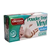 Kingfisher Powder Free Disposable Vinyl Gloves, Medium - Pack of 100