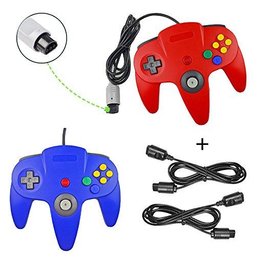 koalud Classic Retro Wired Gamepad Controller mit 2x 6ft Verlängerung Kabel für Nintendo 64Nintendo64N64Konsole rot/blau - 6' - Video Verlängerungskabel