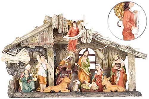 PEARL Krippen: Weihnachtskrippe aus Polyresin mit 11 handbemalten Figuren (Weihnachten Krippe)