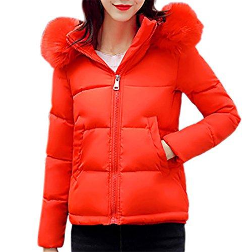 Kurzer Daunenmantel für Damen,FRIENDGG Damen Mädchen Lässig Deal Winter Dünne Mode Täglich Langarm Elegante Nette Hut Taschen Solide Lammy Jacke Mantel Outwear Parka (Orange, L)