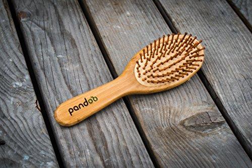 pandoo Bambus Haarbürste mit Naturborsten - Vegan, umweltfreundlich - Natur-Bürste mit Bambusborsten für natürlich schöne Haare für Männer, Frauen & Kinder - Detangler - 4