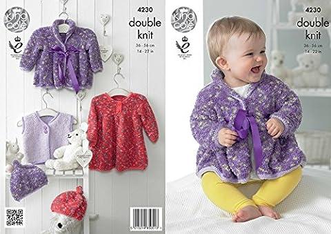 King Cole Baby Dress, Coat, Waistcoat & Hat Cuddles Knitting Pattern 4230 DK
