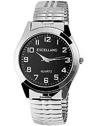 Excellanc llanc Reloj de hombre con cordón plata metal negro, antracita, clásico elegante Hombre Cuarzo Analógico Reloj de pulsera