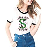 Estate Tessuto Morbido Riverdale-South Side Serpents Stampa Casual Donna T-Shirt a Manica Corta Assorbimento di umidità Moda