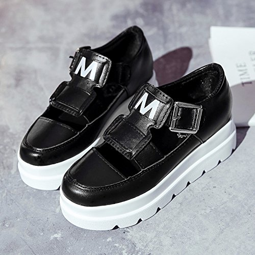 Lgk & fa estate sandali suola spessa muffin sandali Xia po Wear scarpe con antiscivolo all-match Black 6 cm