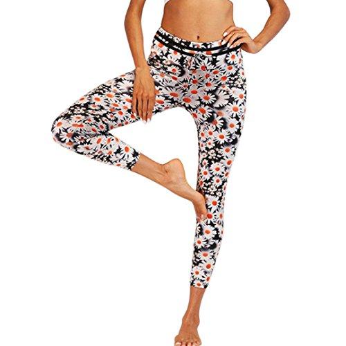 Coolster Frauen Sport Yoga Leggings lange Druck Fitness Hosen Yoga Sport Hosen (Weiß, S) (Adidas Weiß Herren Uhr)