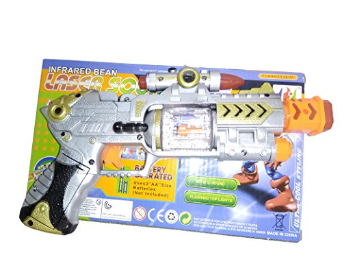Laser Sound Gun Toy With Flashing Top Light for Boys, Battery Operated Laser Gun.  available at amazon for Rs.299