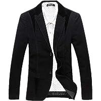 Goorape Men's Casual Suit Jacket Corduroy Collar 2 Buttons Blazer Jacket