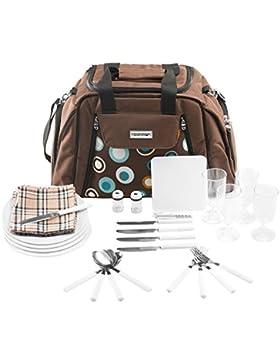 Picknicktasche Umhängetasche Tragetasche + Zubehör 29-teilig - Farbwahl