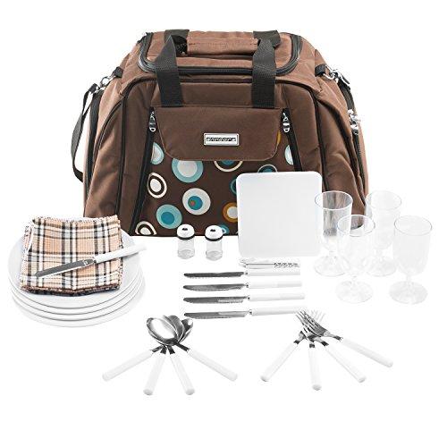 anndora Picknicktasche mit Kühlfach braun Blaue Kreise 29 Teile 4 Personen