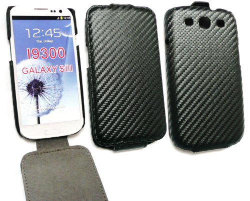 Emartbuy ® S3 Samsung Galaxy I9300 Siii Premium Pu Leather Case Flip / Cover / Pouch Carbon Fibre Effect In Black