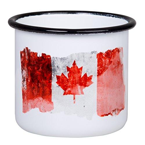 Hochwertige Emaille Tasse mit Kanada Canada Flagge, leicht und bruchsicher, für Camping und Outdoor Fans - von tassenWERK.com (Kanada Leichter)