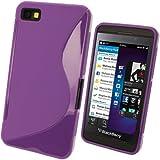 igadgitz S Line Viola Case TPU Gel Funda Cover Carcasa para BlackBerry Z10 Smartphone + Protector de pantalla