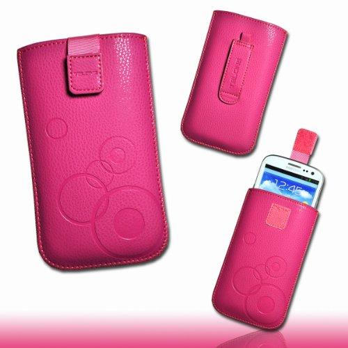 """Tasche Etui Hülle Case Kunstleder mit Ausziehband und Klettverschluss Design circle4 für Apple iPhone 6 - 4,7"""" rosa pink"""