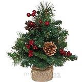 matches21 Kleiner Weihnachtsbaum Tannenbaum geschmückt / dekoriert 30 cm Weihnachtsbäumchen zum Stellen mit Leinensack / ohne Beleuchtung