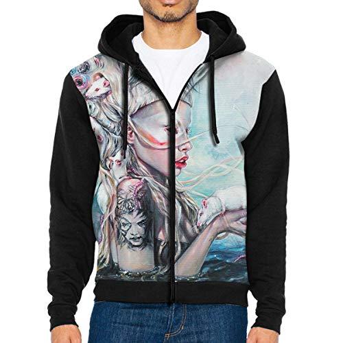 Nicegift Yolandi The Rat Mistress Men's Full-Zip Hoodie Jacket Sweatshirt XXL Black Cat Fleece Jacket