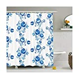 DOLOVE Anti-Schimmel Duschvorhang Badvorhang Badewanne Duschvorhang Wasserabweisend Duschvorhang Blau 180x180CM