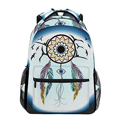 Ahomy Mochila Escolar Libro Bolsa para Teenager Niñas Niñas Niños, Atrapasueños Pájaro Luna Viaje Mochila Satchel Senderismo Bolsa para Mujer Hombre