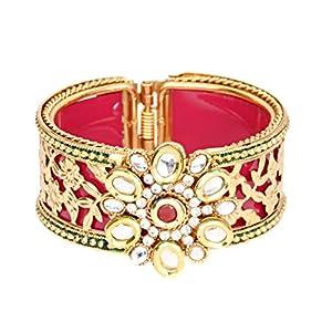 Saraa Dazzling Gold Plated Metal Base Kundan Pearl Red Kada/Bangle for Women/Girls