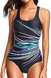 Bettydom Damen Essential Gestreift Schalen Slim Schwimmanzug Figuroptimizer Racerback Sport Badeanzug Elegance (Grün und Lila, XL)