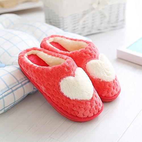 DogHaccd pantofole,Pantofole di cotone femmina maschio coppie cadono spesso soggiorno invernale home in inverno con pantofole di peluche carino Il rosso1