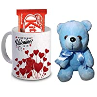 R B Store Valentine's Day Love Gifts Ceramic Mug, Sky Blue Teddy and Chocolate Gift Combo for Special Someone Loved one Girlfriend Boyfriend Wife Husband
