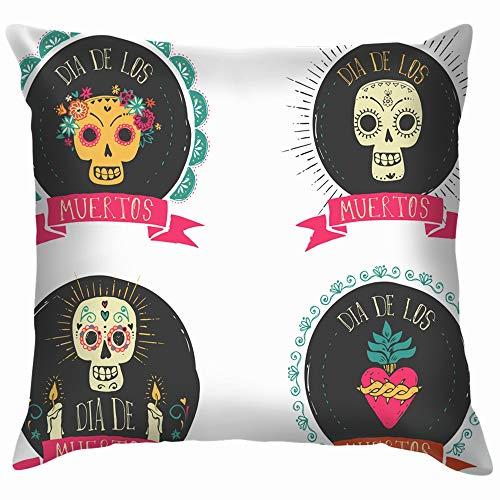 beautiful& Print Mexican Sugar Skull Heart Set Pillow Case Throw Pillow Cover Square Cushion Cover 18X18 Inch (En Hoteles De Fiesta Halloween)