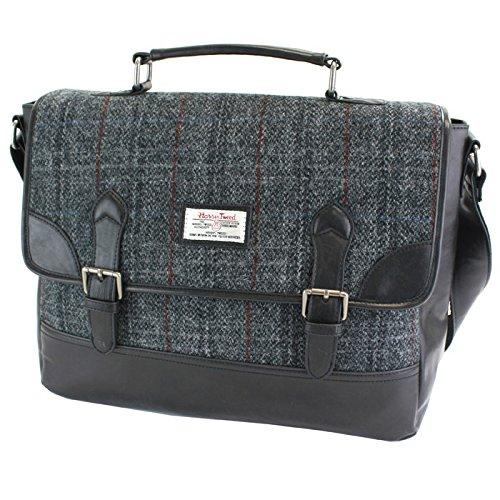 Damen oder Herren Echte Harris Tweed Satchel Aktentasche in der Farbe (Grau)