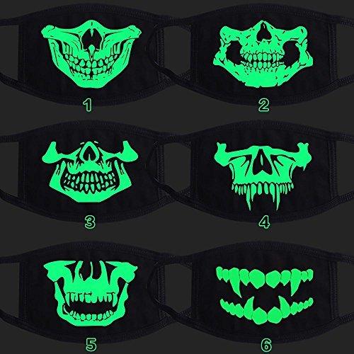 Arpoador New Cosplay Luminous Baumwolle schwarz Cartoon Funny Skull Zähne Anti Staub anti-smoke Hälfte Gesicht Mund Maske für Halloween Weihnachten Geburtstag Party (Hälfte Stil Die Maske)