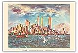 Manhattan de l'île du Gouverneur - New York - United Airlines page de calendrier - Affiche ancienne vintage tourisme voyage du monde mondial Poster by Joseph Fehérc.1948 - Reproduction Professionelle d'art Master Art Print - 33cm in x 48cm