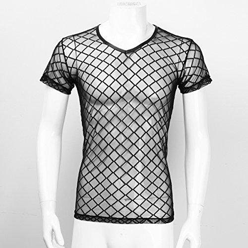 Herren Unterhemd aus Mesh Transparent Unterwäsche Stretch T-shirt Tops Clubwear Schwarz M-2XL Kurzarm Schwarz