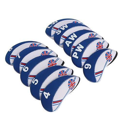 Tourbon Golf Club Eisen umfasst die Schlägerhaube für Titleist, Callaway, Ping-Set von 10, blau (Eisen Set Callaway)