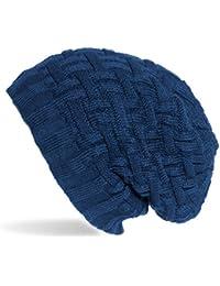 Kandharis Feinstrick Beanie warme Mütze sehr weichem Fleece Innenfutter Flecht Muster Unisex MT-19
