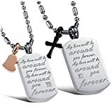 """Daesar Homme Femme Collier Set Couple Acier Inoxydable Tags Collier Pendentif """"My Love Will Be Around You"""" Gravé"""