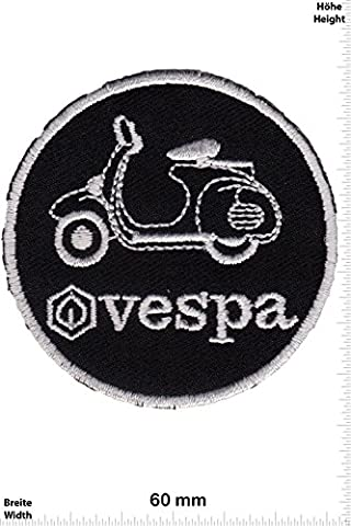 Patches - Vespa - round - black - Scooter - Motorbike - Motorsport - Motorcycles - Biker - Iron on Patch - Applique embroidery Écusson brodé Costume Cadeau- Give Away