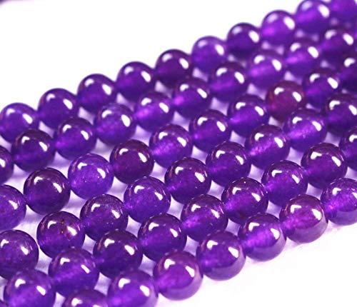 Perles de jade violettes, 6 mm, 8 mm, 10 mm, 12 mm, perles de jade lisses et rondes en jade. 10mm,37pcs