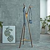 LWF Kleiderablage Wohnzimmer Massivholz Landing Garderobe, Schwarz Nussbaum Einfache Kleiderbügel Kreative Woody Kleiderbügel Büro Mantel Hut Rack (Größe : 50*50*170CM)