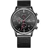 Megir Montre pour hommes chronomètre date automatique en acier inoxydable montre à quartz avec boîte