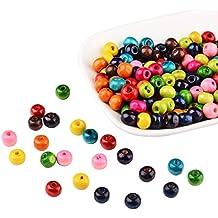 Pandahall 200PCS Perline Legno Perline Colorate Rotondo, Colore Misto, Senza Piombo, Tinto, 7mm di Diametro, Foro: 3mm