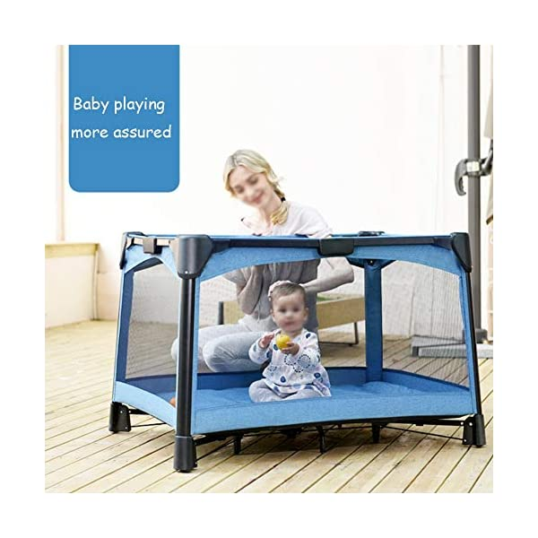 YLZT Baby Cot Bed Travel Cot Baby Bedside Crib Folding Sleep Play Centre with Bassinet Changing Top Mattress for 0-36 months YLZT ♥All suits: with cradle, replacement top, equipment package, folding mattress and transport bag, toy rack, storage bag, you will be fully equipped with all travel and baby ♥ Durable high-quality materials: Aluminum frame provides a solid and stable structure for your child's safe sleep. ♥ Easy to fold: With just a few movements, this crib can be assembled and folded compactly, making your next trip very convenient. 4
