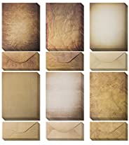 Vintage Paper and Envelopes - 60 Sheets of Antique Looking Papers & 60 Antique Style Envelopes -Classic Ag