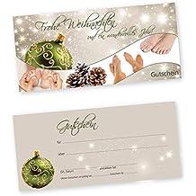 50 Weihnachtsgutscheine Gutscheinkarten XMAS STARS GREEN FUßPFLEGE mit weißtransparenten Umschlägen für Fußpflegestudio Gutscheine Geschenkgutscheine