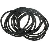 12 Black Small Thin Hair Elastics IN9568