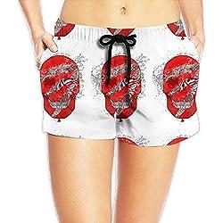 Feng Huang Pantalones cortos de playa secado rápido de mujer con bolsillos