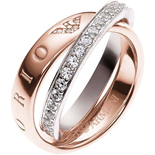 emporio armani ring Emporio Armani EG3123 Damen Ring Sterling-Silber 925 rosé Weiß Zirkonia 16,9 mm Größe 53