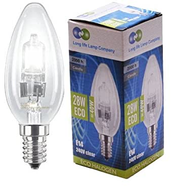2 Long Life Lamp Company Eco Halogen Candles 28w Equivalent 40w Dimmable Halogen Candles Energy Saving Candle light bulbs E14 Edison SES
