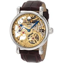 CHARLES-HUBERT, PARIS 3887-A - Reloj para hombres, correa de cuero color marrón