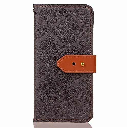 Pour Apple IPhone 7 Case Cover Style Mural Européen Embossed Pressage Flower Pattern PU Leather Wallet Case Avec Holder & Photo Frame & Slots De Carte ( Color : Purple ) Black