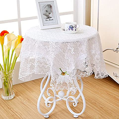 RUGAI-UE Nappe ronde nappe Table Carré petit plat Table Tissu dentelle coton petit rectangle blanc