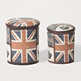 SoBuy® FSS61 Lot de 2 Poufs Coffres de Rangement Repose-Pieds Assise Rembourrée en Métal – London